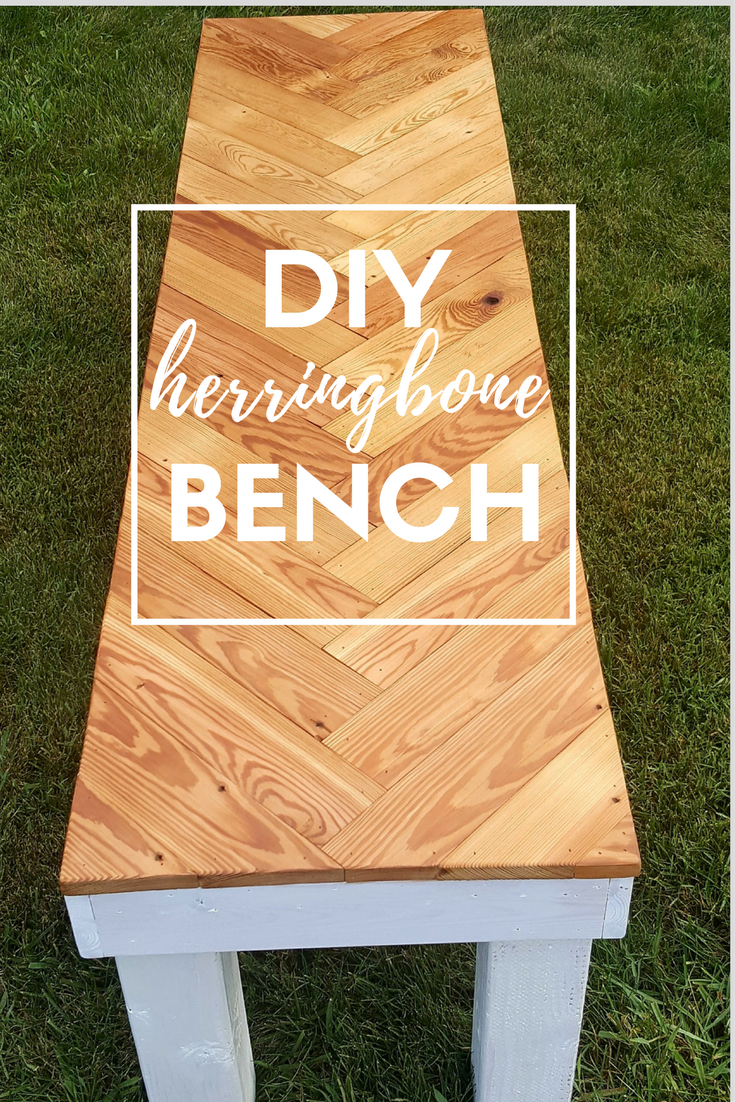 Make this DIY herringbone bench for your home with these directions, shopping list, and tools list to help you along the way!